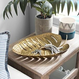 Large Gold Iron Palm Leaf Catch All Trinket Tray